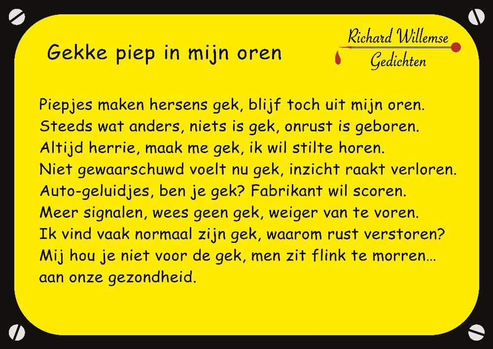 Richard Willemse Gedichten - Gekke piep in mijn oren