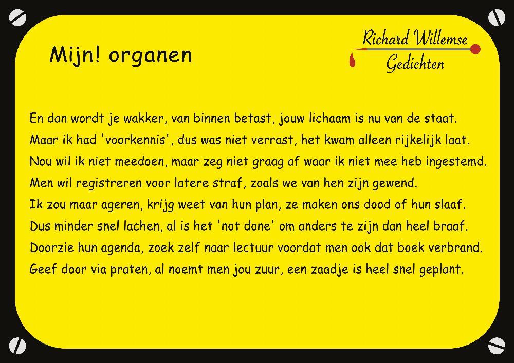 Richard Willemse Gedichten - Mijn! organen